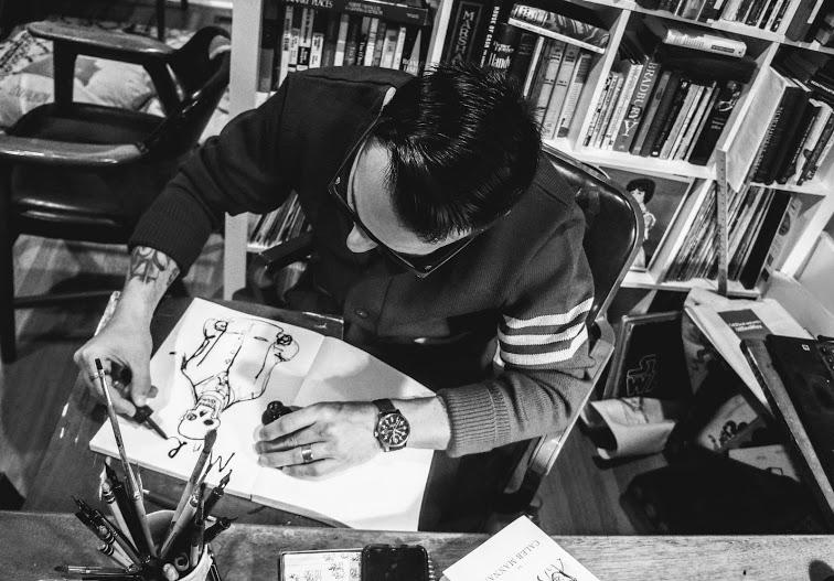 The artist in his 'studio'.