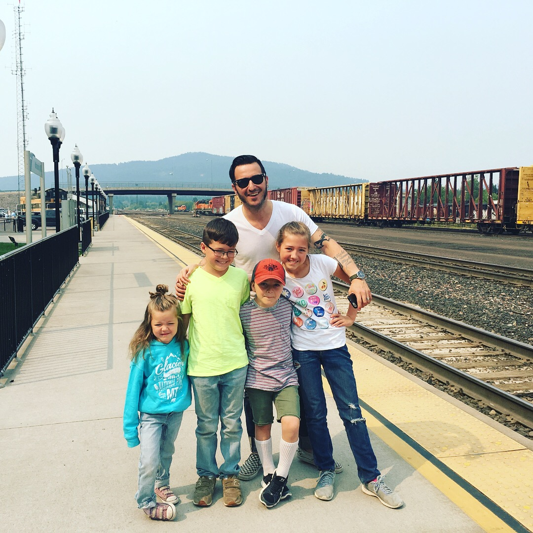 Me n the kids at the Whitefish, MT train station, 'Stumptown' in Bust It Like a Mule