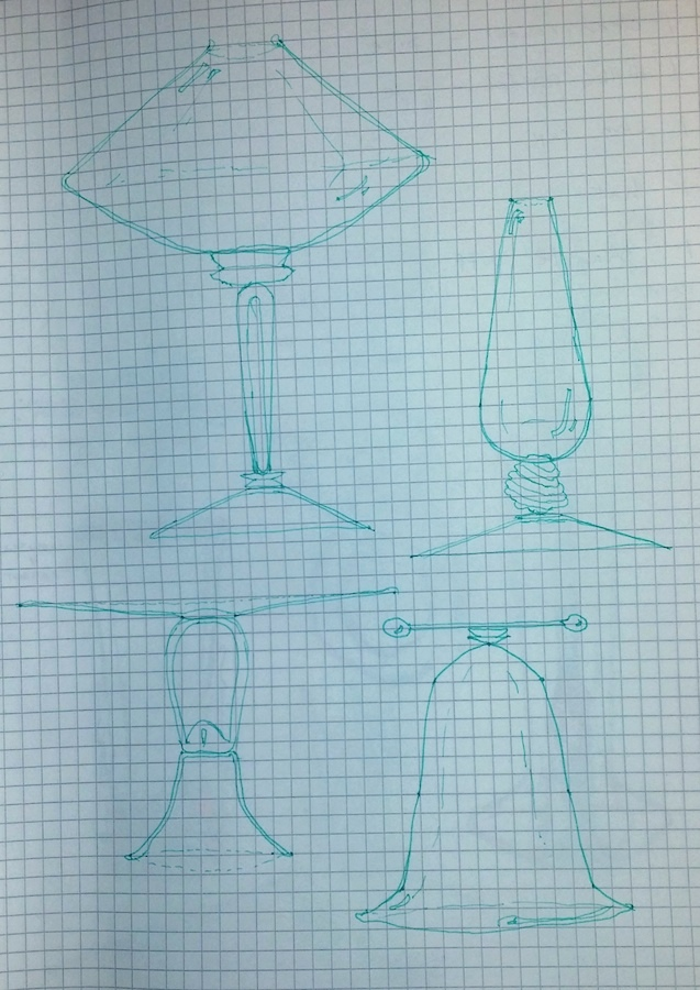 Some unconventional ideas for goblets and vessels that have been modified to have tiny apertures or a new mode of handling (two-handed bell jar?).