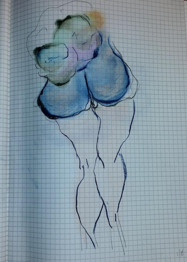 Pastel (Bruised) Ass. Chalk pastel, graphite.