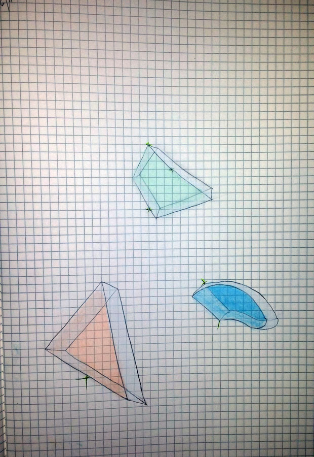 Concept for cast-glass geometric blocks. Chalk pastel, graphite.