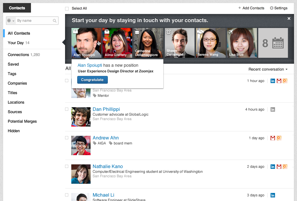 LinkedIn Contacts web landing page