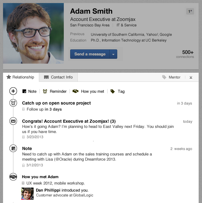 LinkedIn Profile Relationship Module