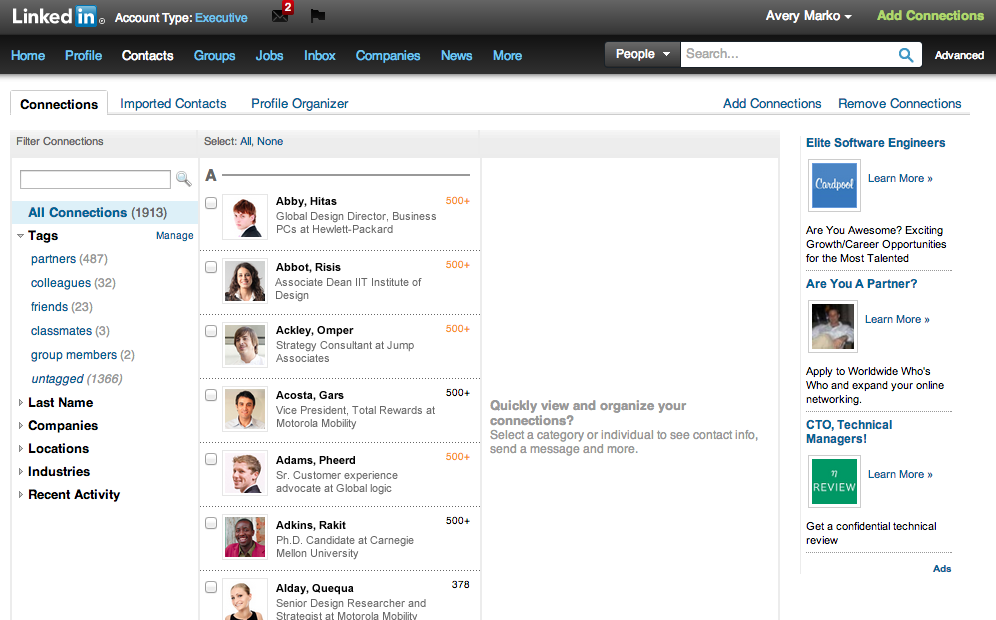 The old LinkedIn Contacts page (2008 - 2013)