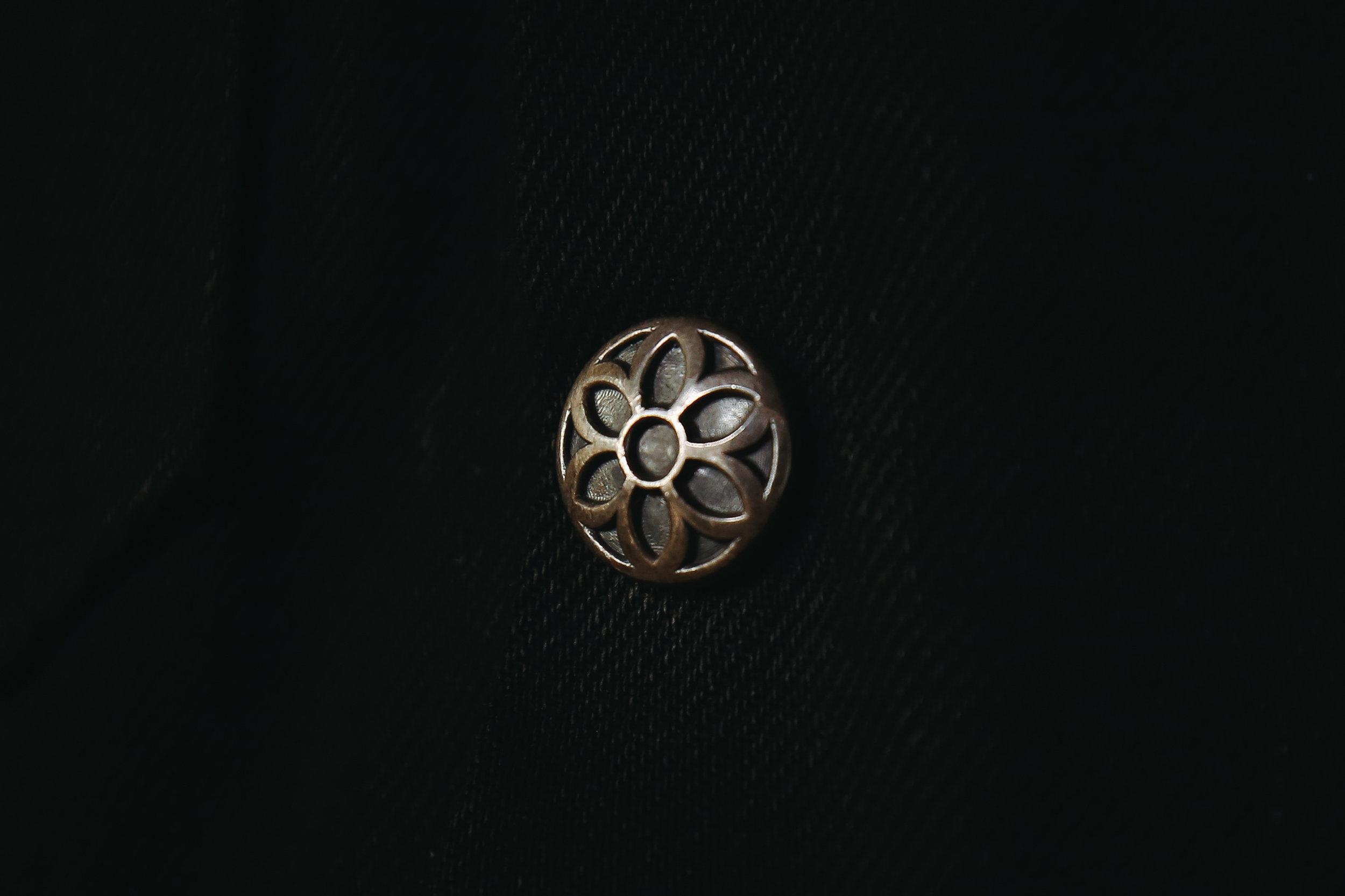 Ship John x  GOODARTHLYWD :special 16oz Kuroki mills black selvedge denim Wills Jacket with sterling silver snaps.