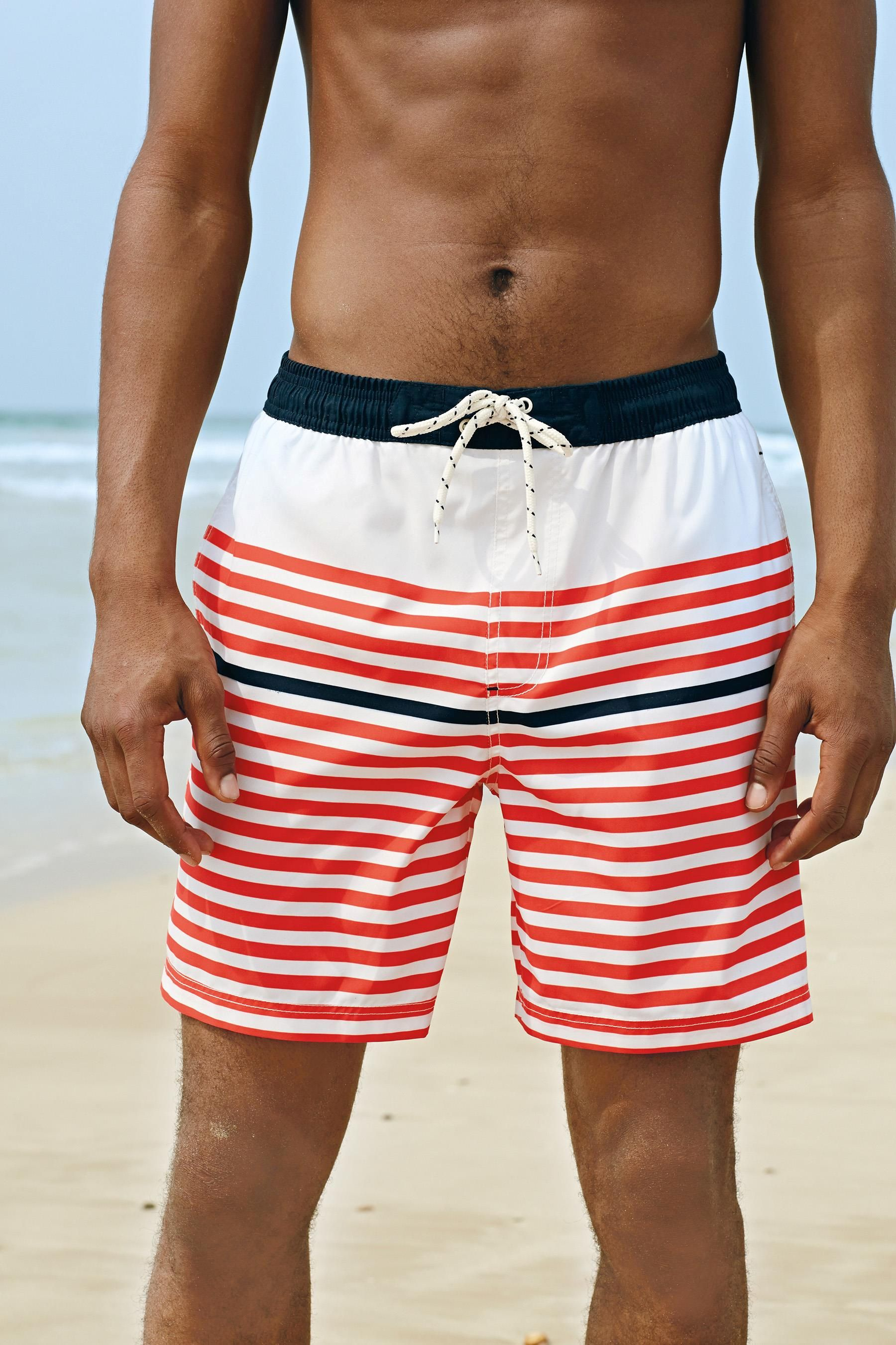 Red and Ecru Stripe Swim Shorts: NEXT £18.00