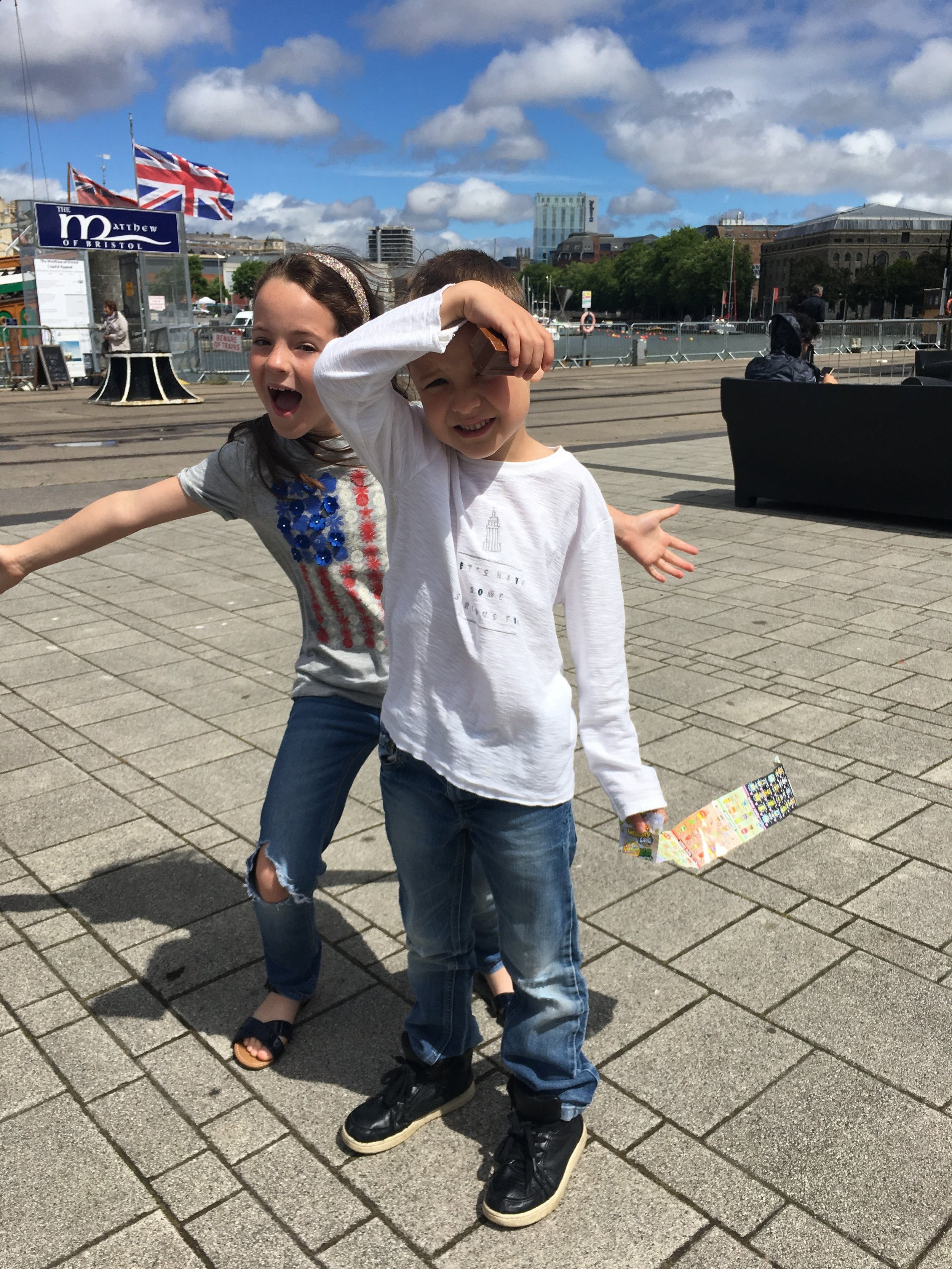 Izan and his big sister Nerea had a great time by the Bristol Harbourside.