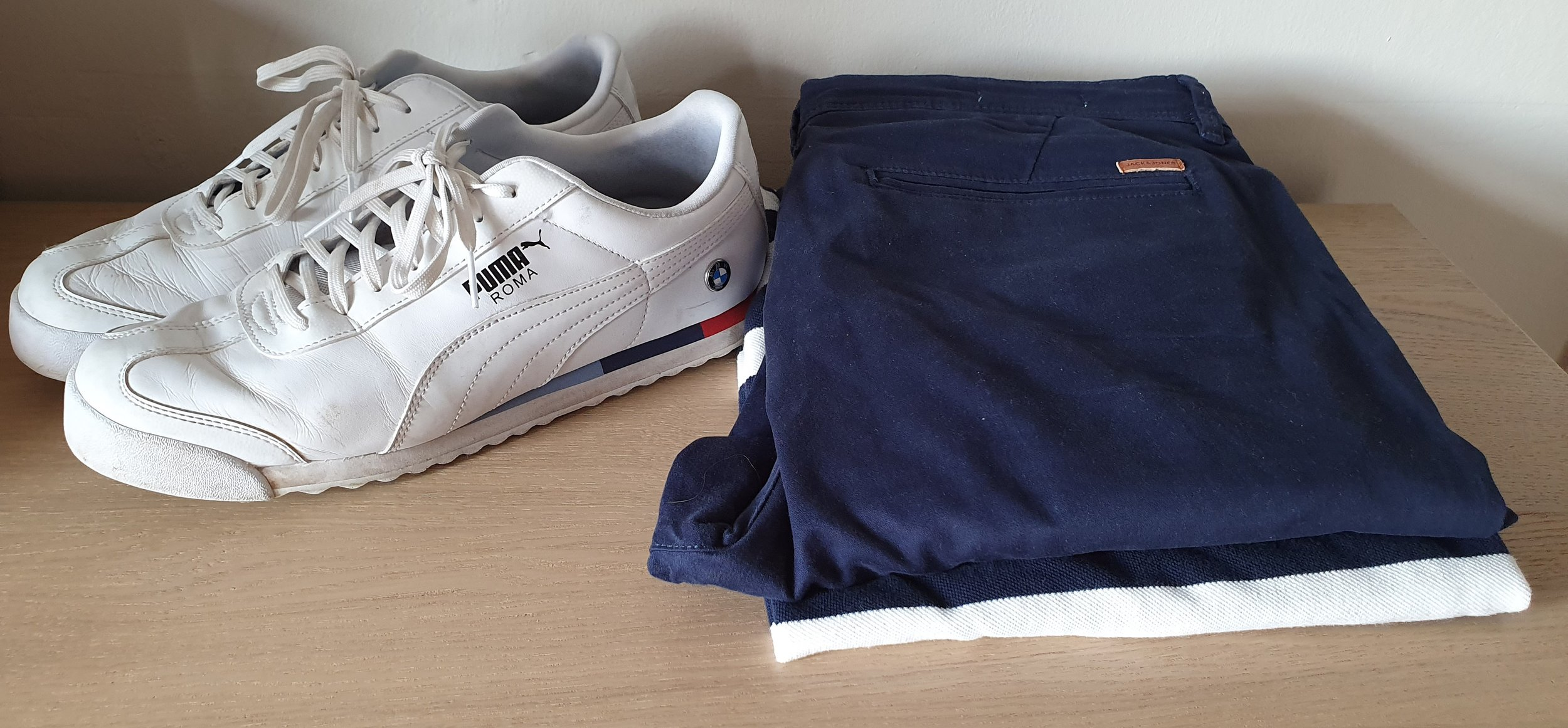 Puma Roma White Trainers, Navy Chinos by Jack & Jones, Gap Polo Shirt