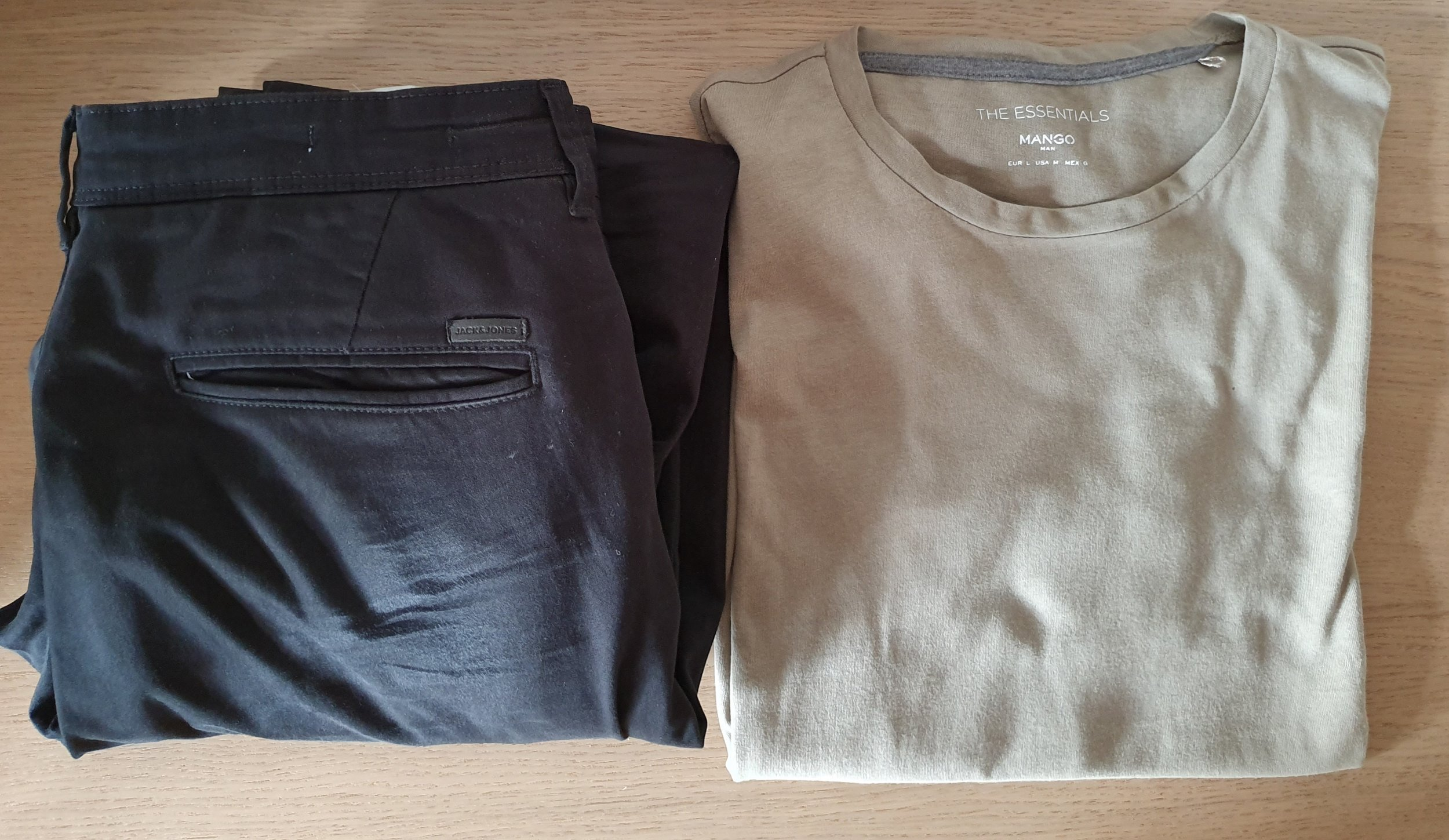 Black Chinos by Jack & Jones and Essentials T-Shirt Khaki by Mango