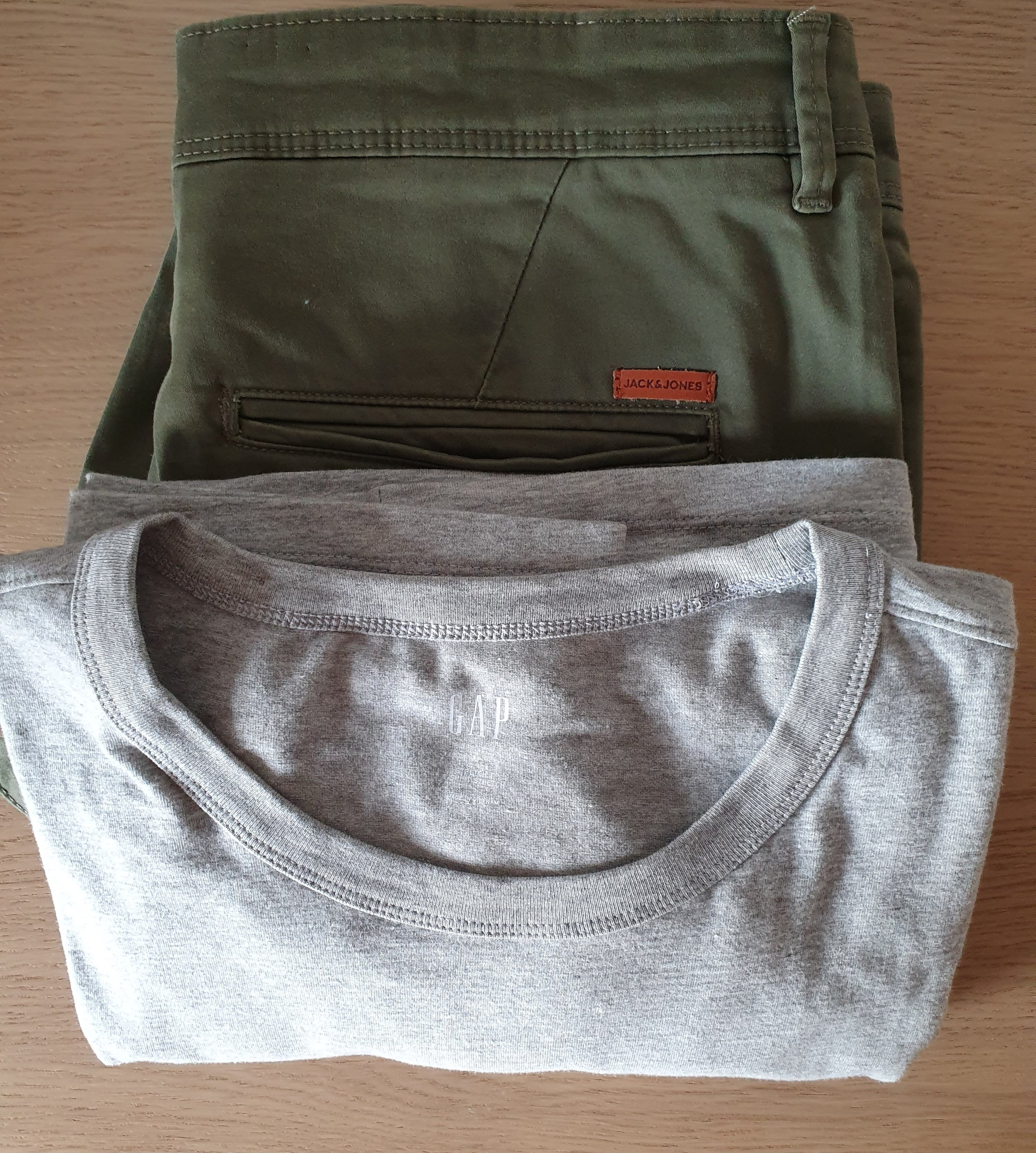 Khaki Green Chinos by Jack & Jones, Grey Slim Stretch T-Shirt by Gap