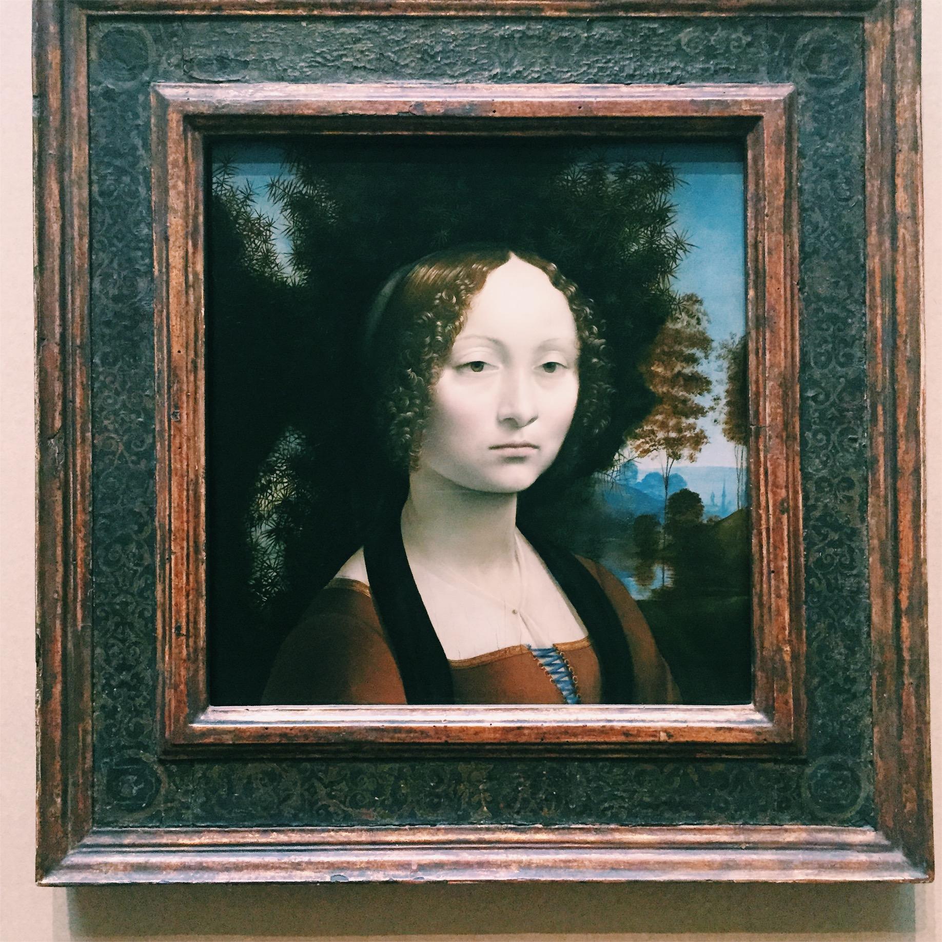 Ginevra de Benci by Leonardo da' Vinci. This portrait lives in the National Gallery in Washington, D.C.