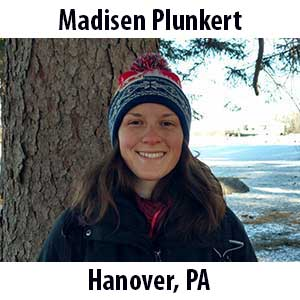Madisen Plunkert  (Hanover, Pennsylvania) B.S. (2018) in Recreation, Park and Tourism Management from Penn State University. Madisen spent much of her younger years exploring the outdoors of southern Pennsylvania. Some of her favorite things to do then included climbing trees, playing make-believe with her siblings, and marveling at salamanders in the creek behind her house. She still enjoys doing those things, along with biking, backpacking, and getting crafty! After graduating from Penn State, Madisen hiked the Long Trail in the magical woods of Vermont where she spent more time swimming in ponds and eating peculiar foods than hiking. Her passion for environmental education led her to Shaver's Creek Environmental Center in the lush green forests of central Pennsylvania, the snowy mountains of Colorado at the Aspen Center for Environmental Studies, and now the coast of Maine here at The Ecology School! Madisen is overjoyed to share her love and wonder for the natural world in this new and beautiful place.