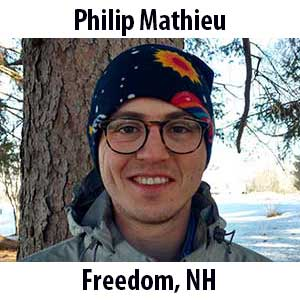 Philip Mathieu  (Freedom, New Hampshire) BA (2017) in Physics from Brown University. Philip grew up hiking and skiing all over the White Mountains of New Hampshire. He has loved science and the outdoors for as long as he can remember. In college, he did research in a radio astronomy lab, built race cars, and produced a handful of hip-hop mixtapes. Over the years, Philip has taught everything from improv and parallel skiing to electrical engineering. In his free time, he loves making music and eating good food.