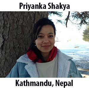Priyanka Shakya  (Kathmandu, Nepal). M.S (2018) in Environmental Science. Priyanka grew up in vibrant Kathmandu. Her soul resonates with freedom of travelling to new places and soaking in all the colors and languages. This past summer, she worked as an Environmental Educator Intern for Lake Erie Arboretum at Frontier's (LEAF). She has a true passion for conservation and absolutely loves forests, mountains and waterfalls. In her free time she enjoys photography, cooking vegan foods, listening to music, and reading books. She am very excited to join the team at The Ecology School and to share her experience with the kids.