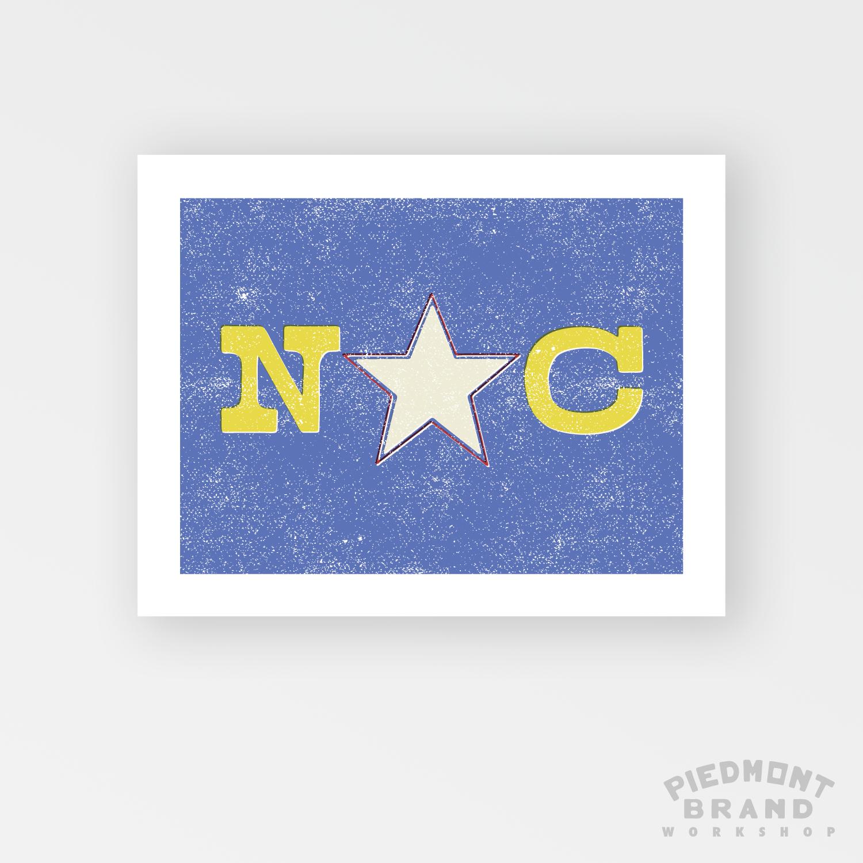 WOOD TYPE NORTH CAROLINA FLAG PRINT