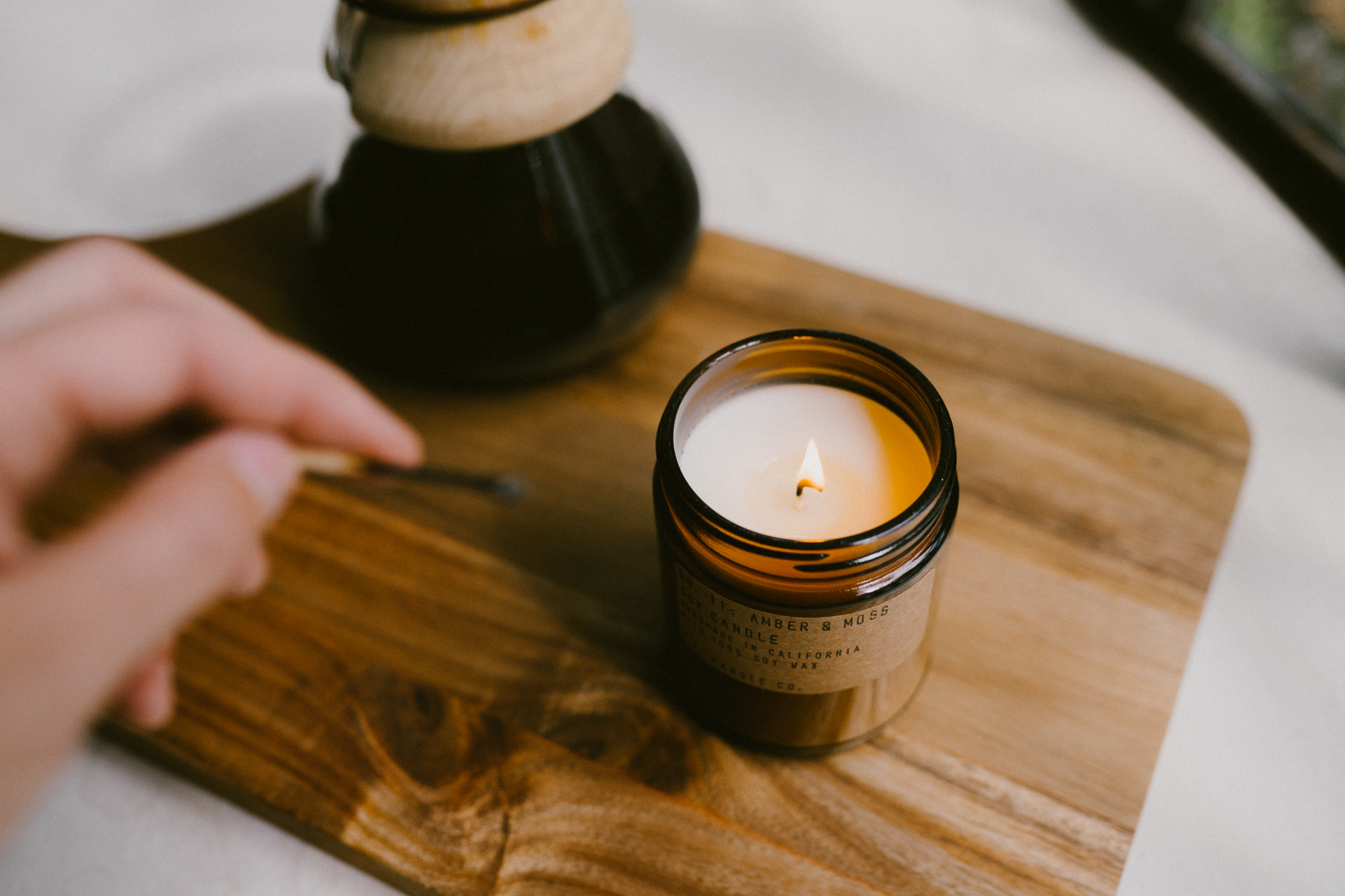 PF Candle Co  | Fall 2016 Lookbook  My task was to style and photograph two of their most popular scents for the Fall 2016 Lookbook project. The photos were meant to invoke warmth and comfort in a personalized space.