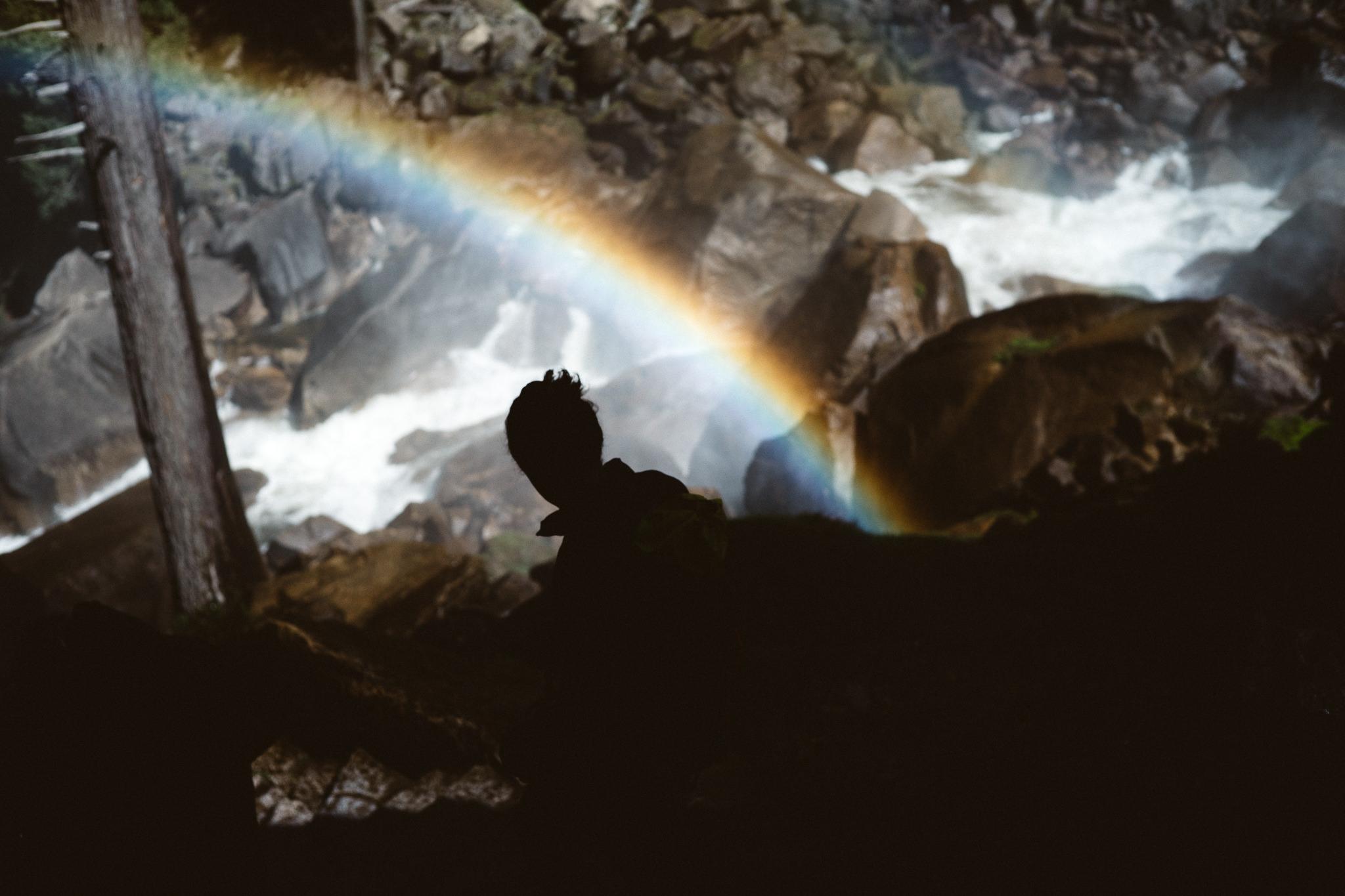 yosemite vernal falls rainbow photo