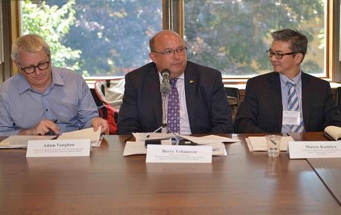 From left: Adam Vaughan, MP for Spadina-Fort York, Berry Vrbanovic, Mayor of Kitchener   & Marco Kamiya of UN Habitat