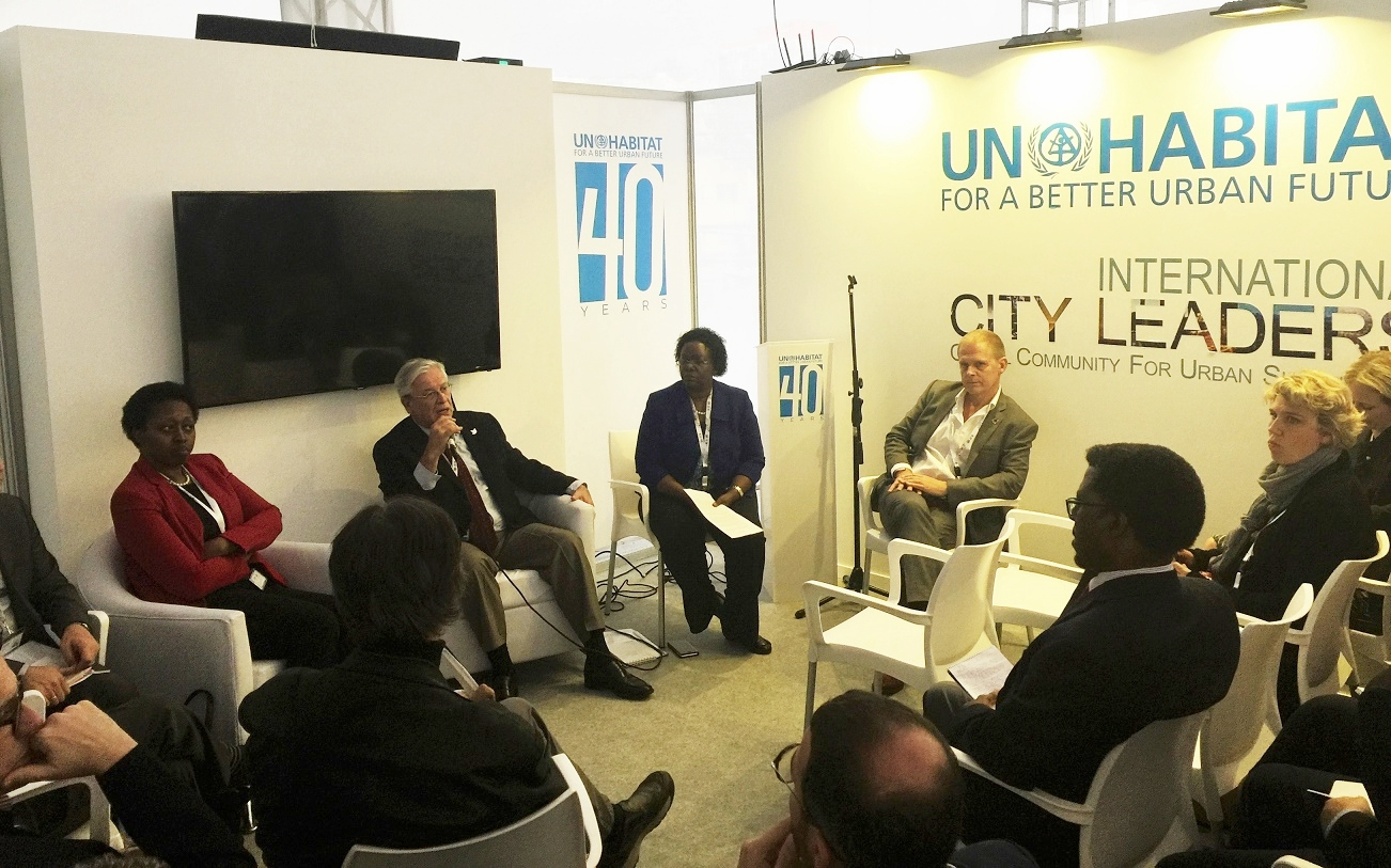 From Left: Ms. Aisa Kirabo Kacylra (Deputy ED of UN-Habitat), Dr. Joan Clos (ED of UN-Habitat), Ms. Christine Musisi (Director for External Relations, UN-Habitat), and Mr. Gordon Weiss (UN-Habitat Spokesperson)