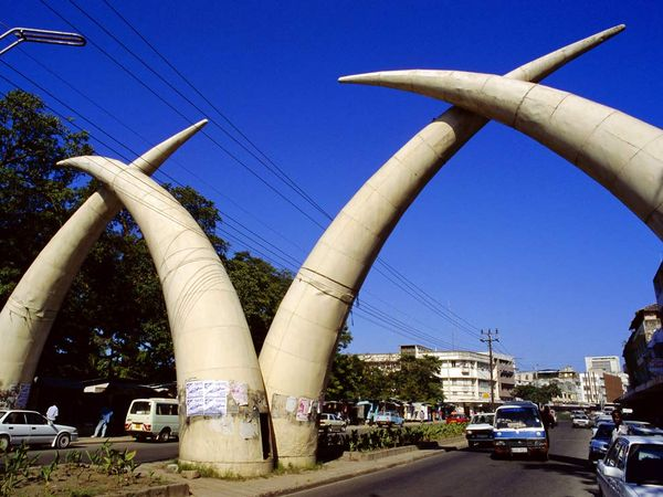 The famous Tusk Arches in Mombasa
