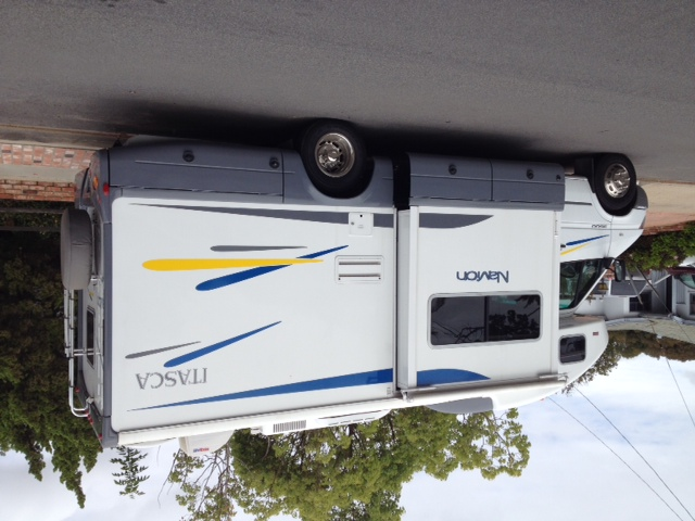 Navion RV with panels installed.