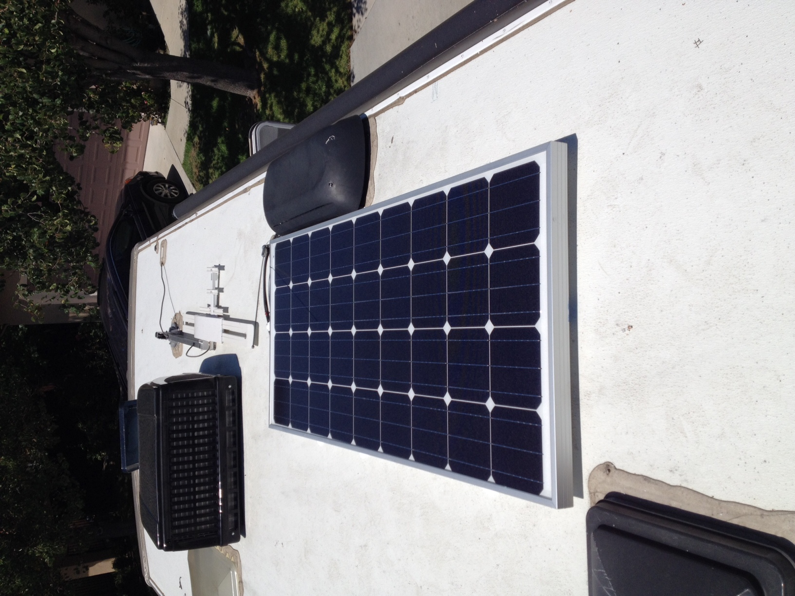 160 watt panel mounted on the roof.