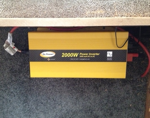 2000 watt pure sine wave inverter installed under bed storage.