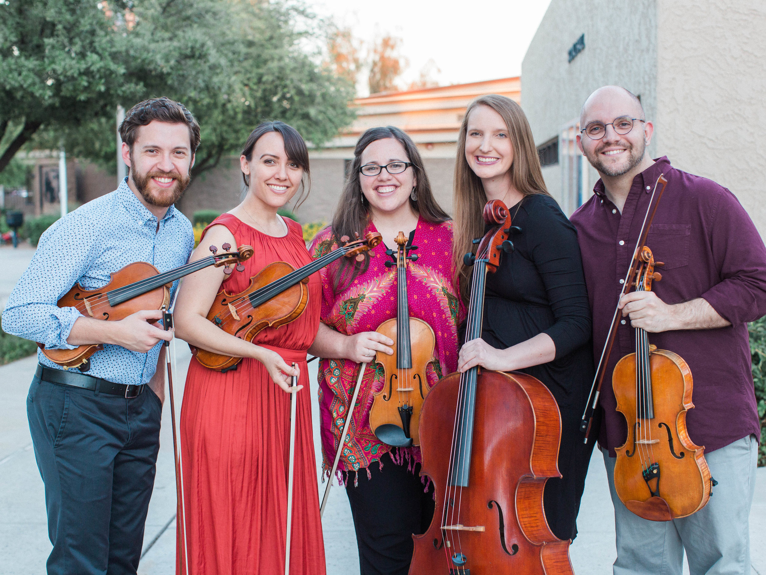 Camp Faculty! Violinist Taylor Morris and the members of the Tetra String Quartet: Chandra Susilo, Heidi Wright, Jenna Dalbey, and Louis Privitera