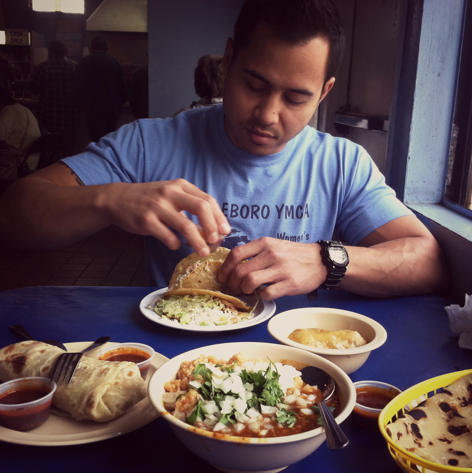 Saturday lunch at Las Cuatro Milpas in Logan Heights, San Diego. The homemade tortillas - omg.