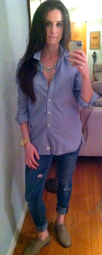 Gap (men's XS) button-down oxford, Express jeans, Steve Madden oxfords, J Crew necklace, Michael Kors watch