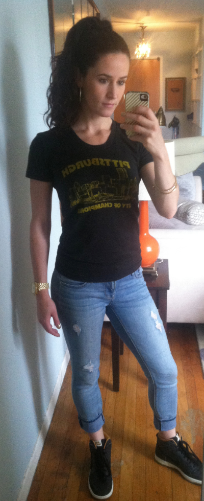 My favorite Pittsburgh tee (City of Champions, yinz guys), Express jeans, Nike high tops, Juicy Couture earrings and bracelets