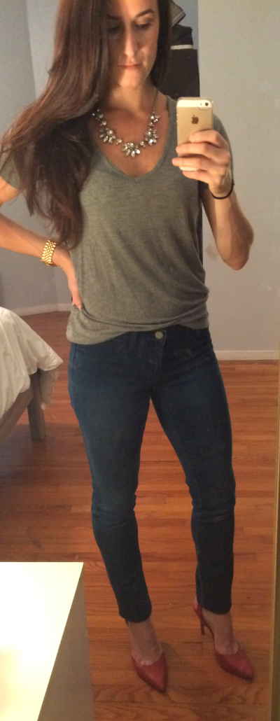 Madewell tee, Banana Republic stretch denim, Nine West pumps, J Crew necklace