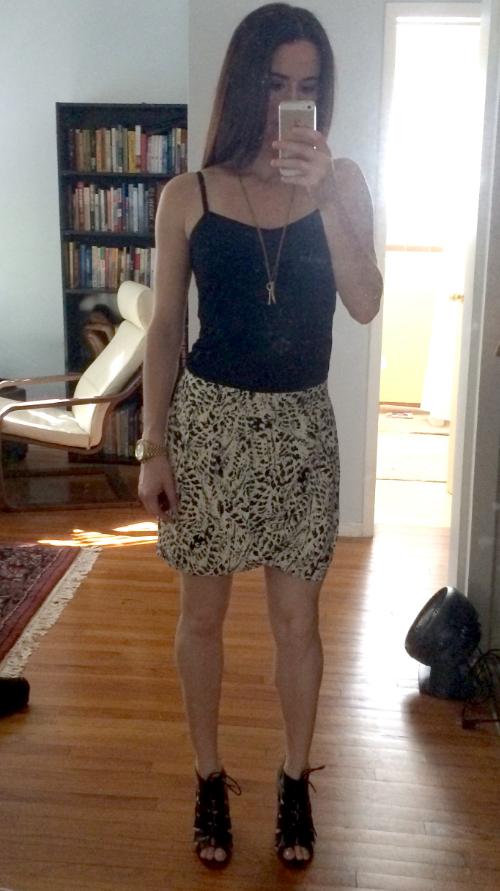 Beyond Yoga tank, Forever 21 tulip-hemmed skirt, BCBG gladiator sandals