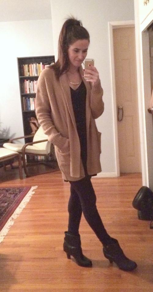 "Forever 21 camel sweater, Aqua tunic tank,  Soybu ""City"" leggings, slouchy BCBG booties"