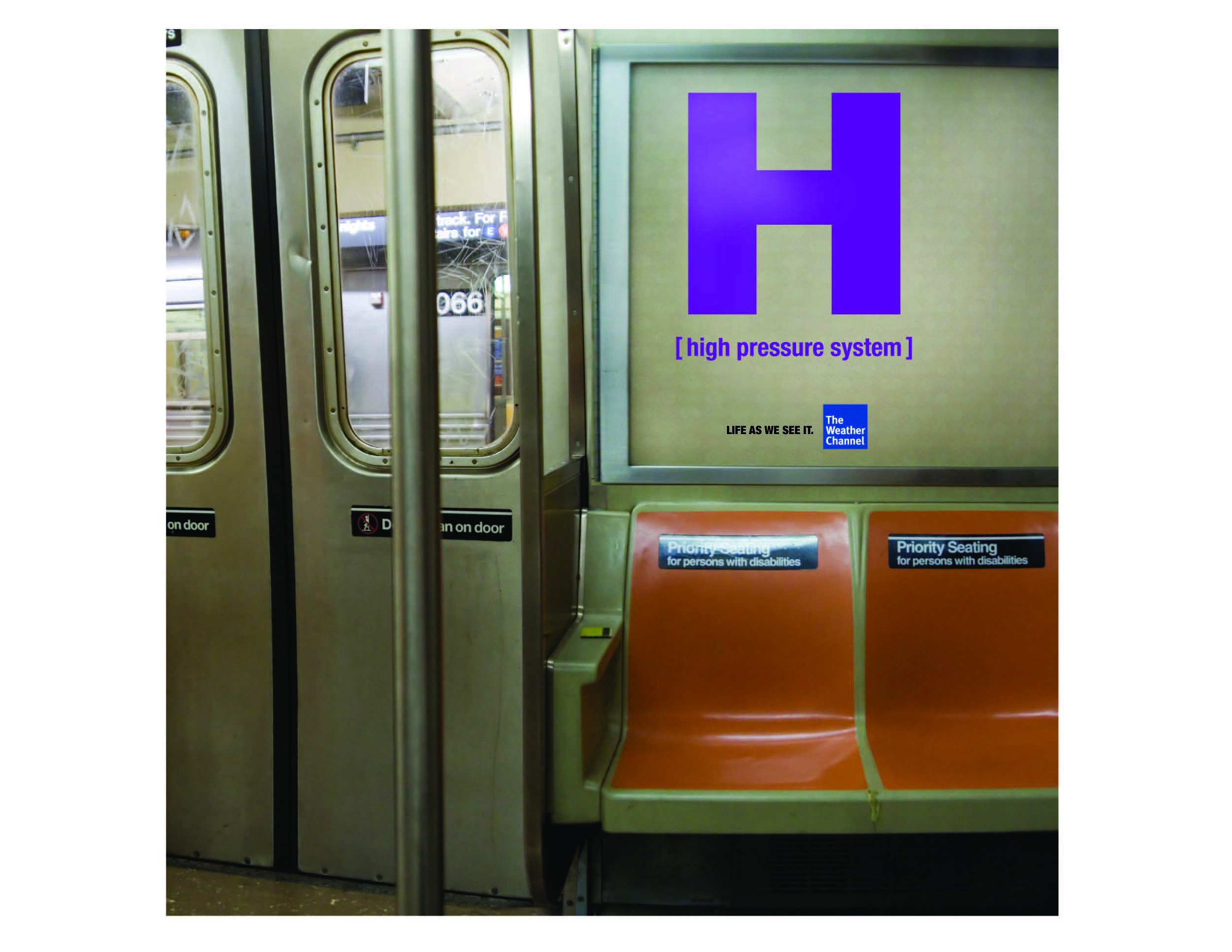 Spec campaign for The Weather Channel. Weather symbols are used out of their ordinary context, and in real-life situations - like a crowded subway train.