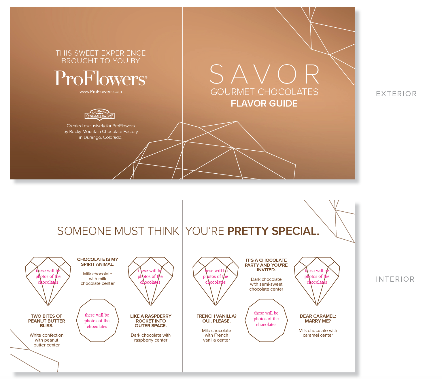 """Carrying on the theme of naming gifts after actions, I chose to name the ProFlowers chocolates """"Savor."""" The elegant design is juxtapositioned with fun flavor descriptions - click the image to read them."""