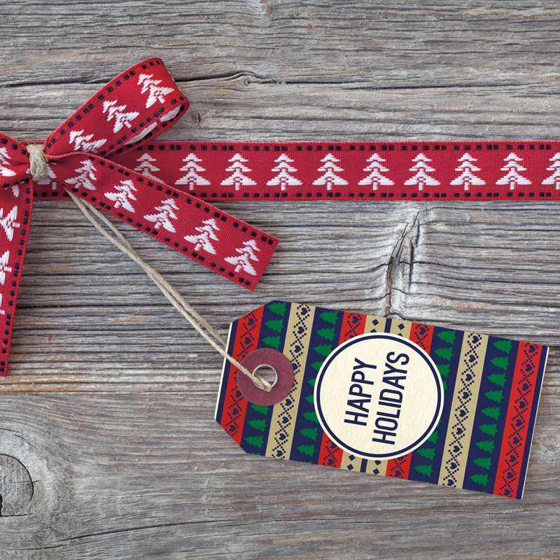 happy holidays gift tag design