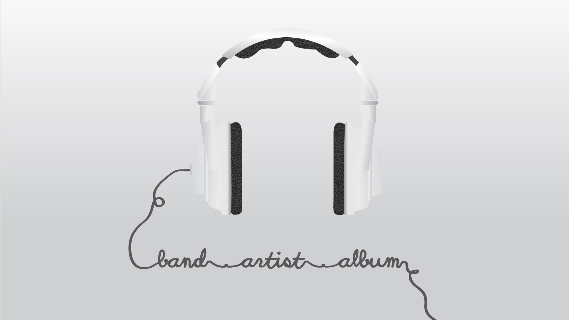 webpage illustration of headphones with the cord forming words.