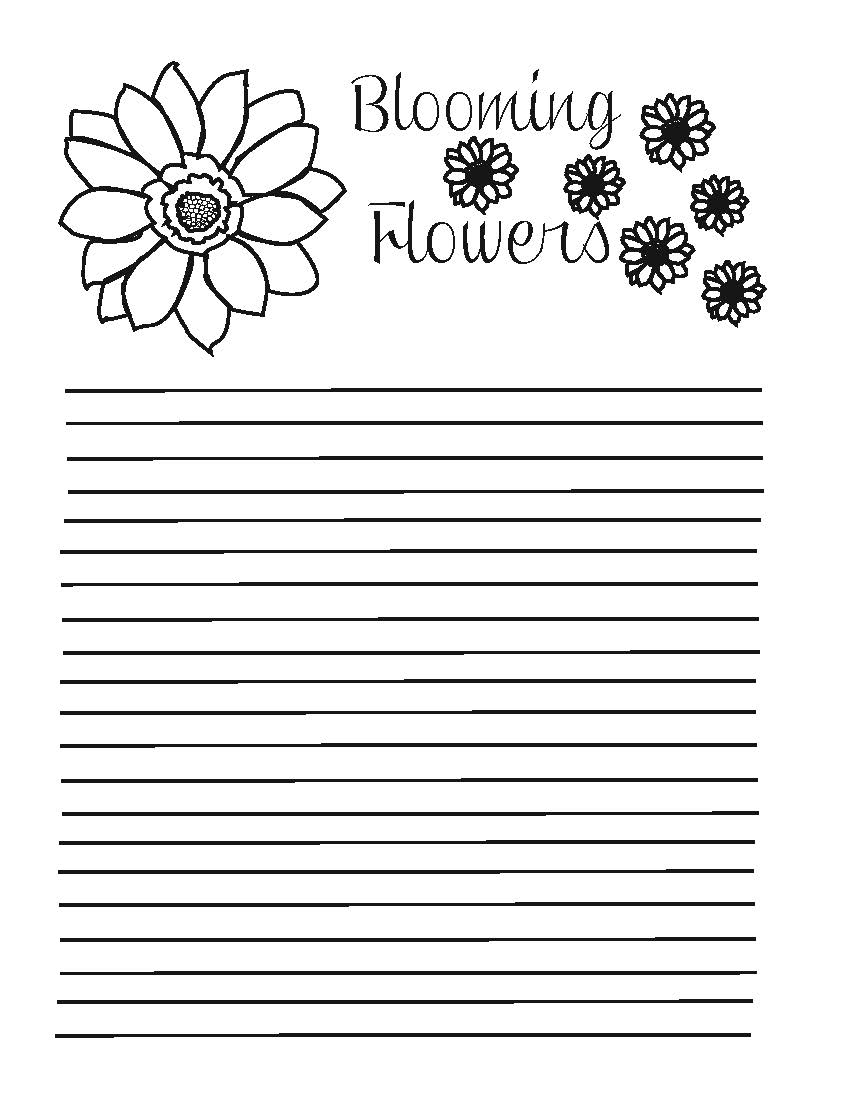 notepad with lines and flower illustrations