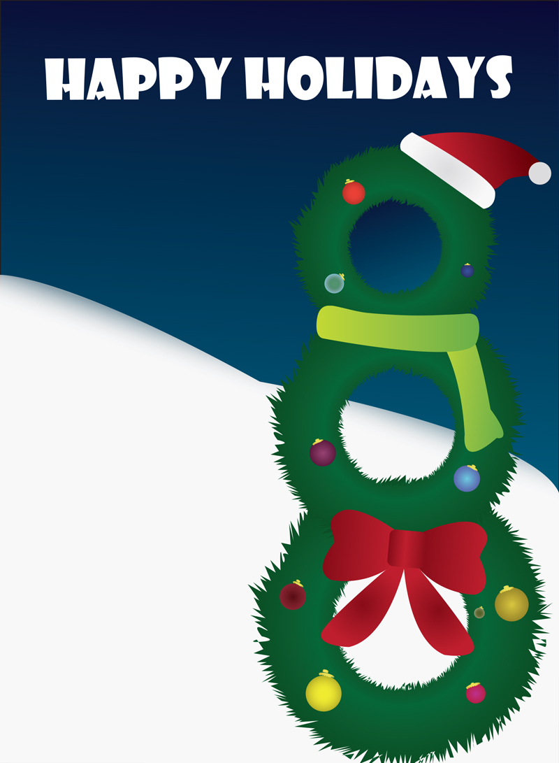 illustration of wreaths stacked to make a snowman