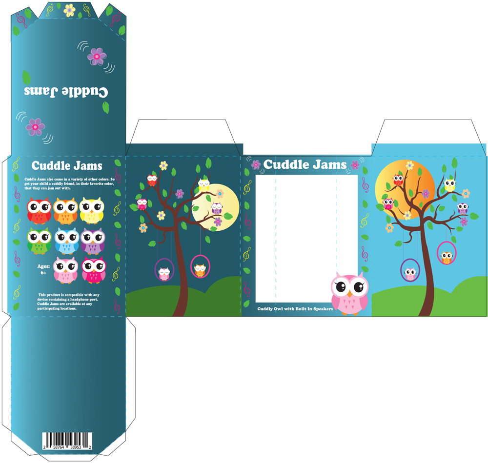 flat dieline illustration of product box for a toy