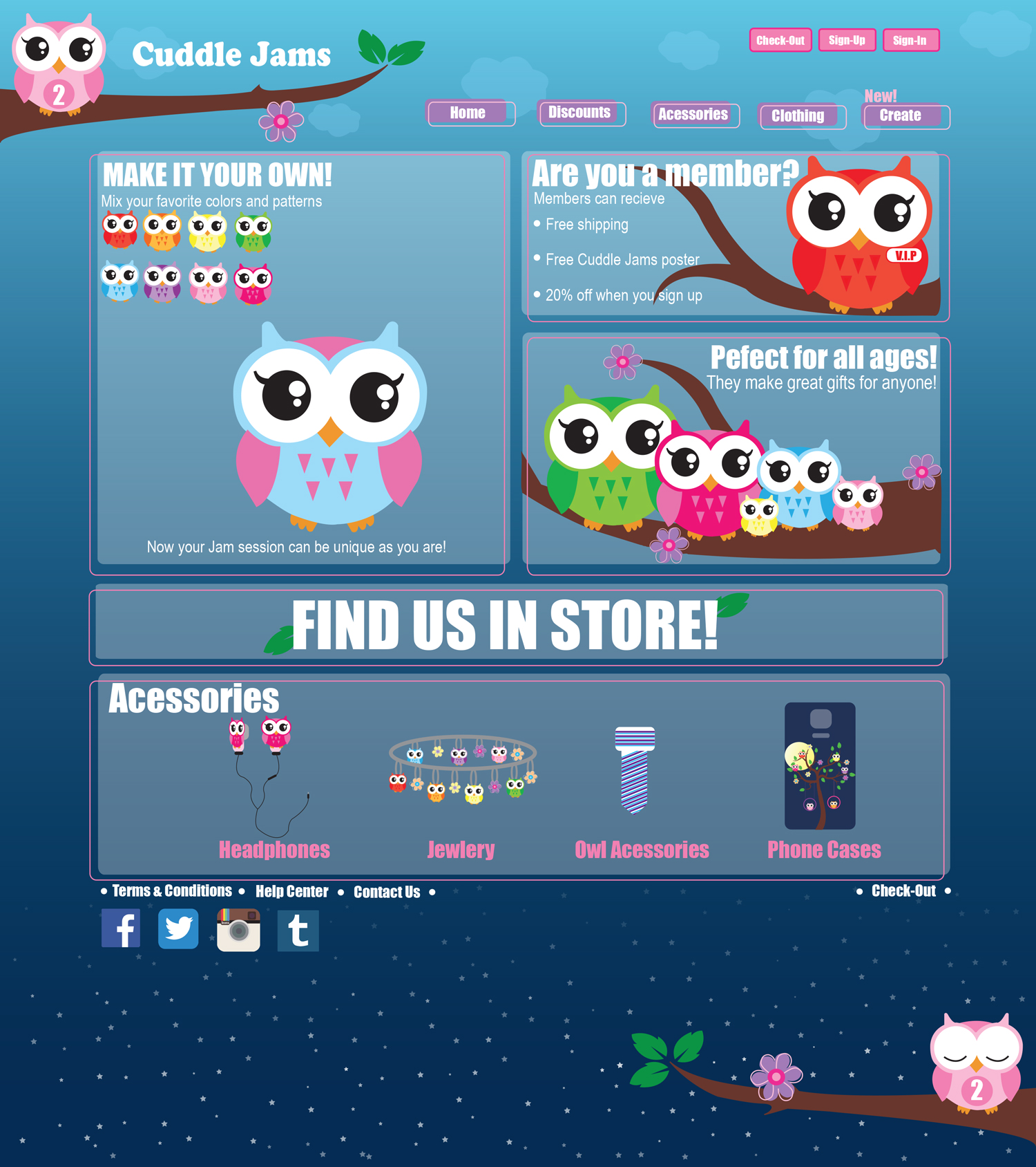 website design with owl illustrations
