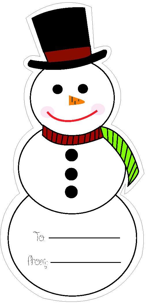 holiday snowman tag illustration