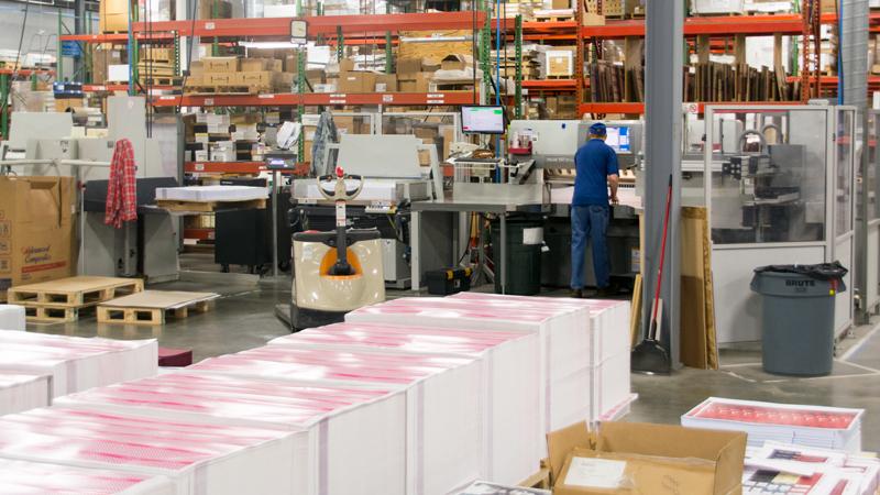 skids of printed paper