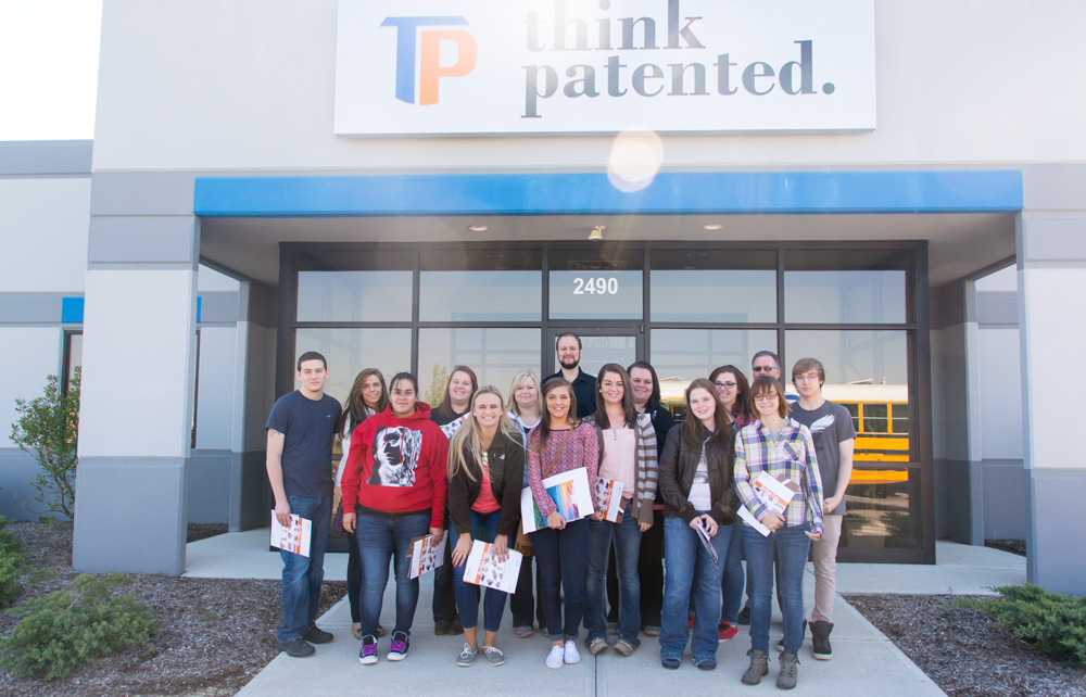 Group photo of students on field trip to Think Patented