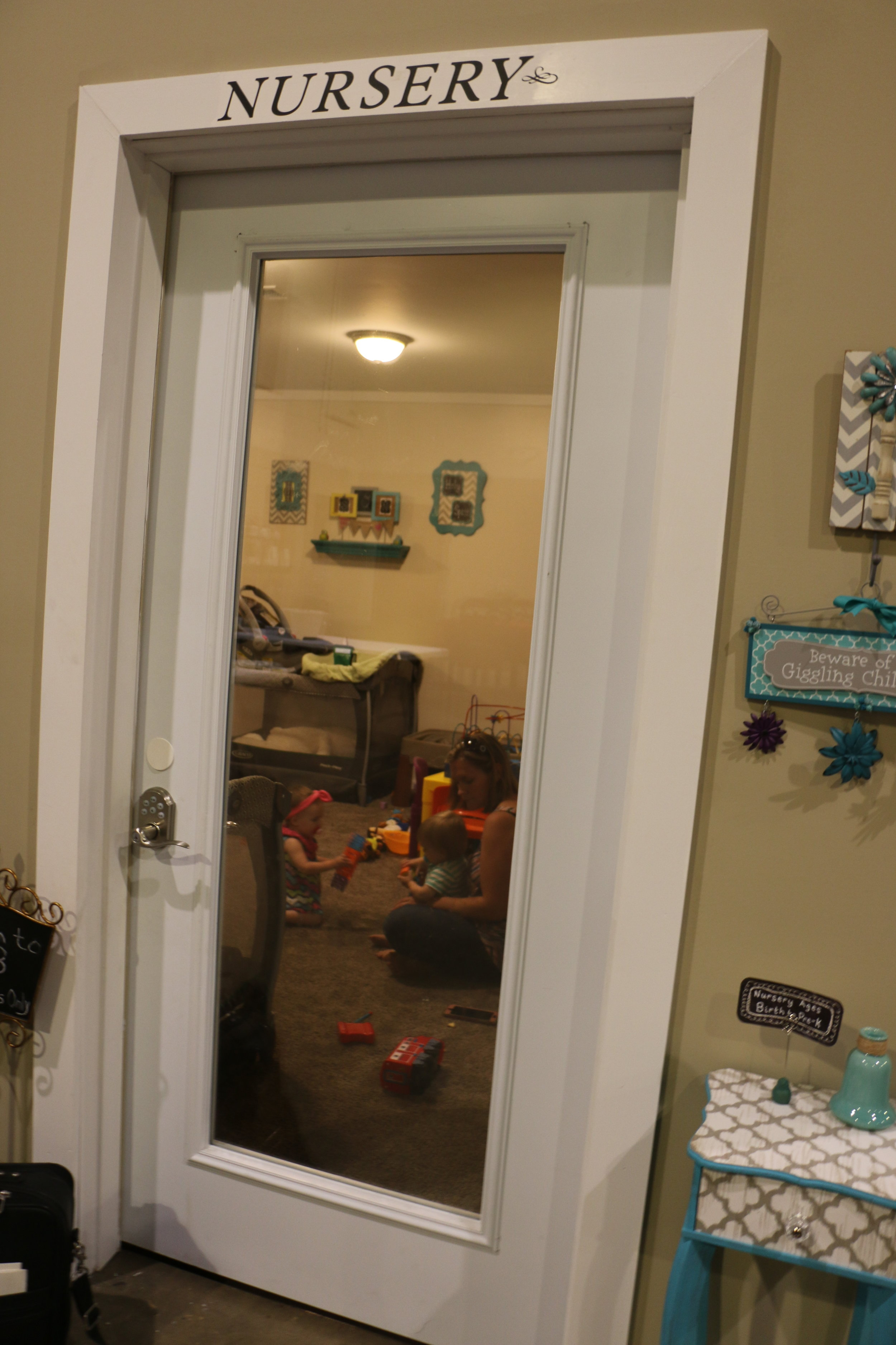 Nursery - During Sunday morning and evening worship, space is provided for Newborns-3yrs old. There are cribs, changing table, and rockers.