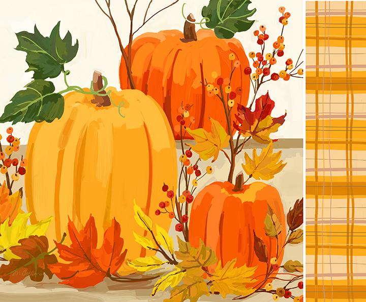 Pumpkins & Leaves With Pattern .jpg