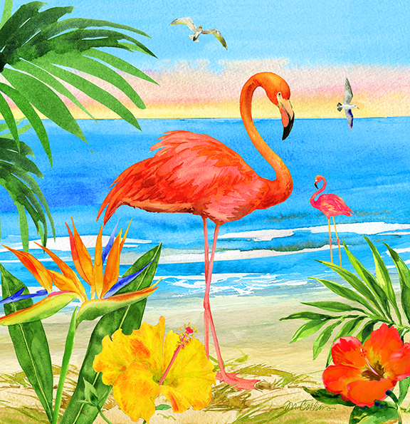 Flora the Flamingo on the Beach.jpg