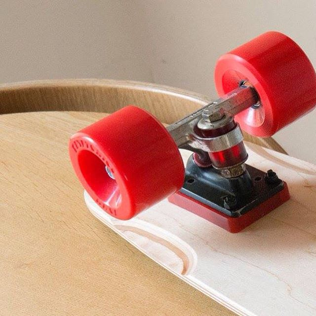"Wow! Words and photos by David Gregory. Laid up with a calf injury, so to pass the time, I built up a new cruising board as I had the deck lying around doing nothing. G&S Warptail 2 re-issue OG ACS651 trucks with Bennett bushings - had these trucks since 1978 :) Re-issue 70mm red Kryps Bronson G2 bearings 1/2"" risers. Just thought I'd share... Can't ride the bloody thing, so I may as well let people see it this way instead! #skateboarding #kryptonicswheels #g&s #warptail #acstrucks #bronsonbearings #kryptonics #vintageskateboard #davidgregory"