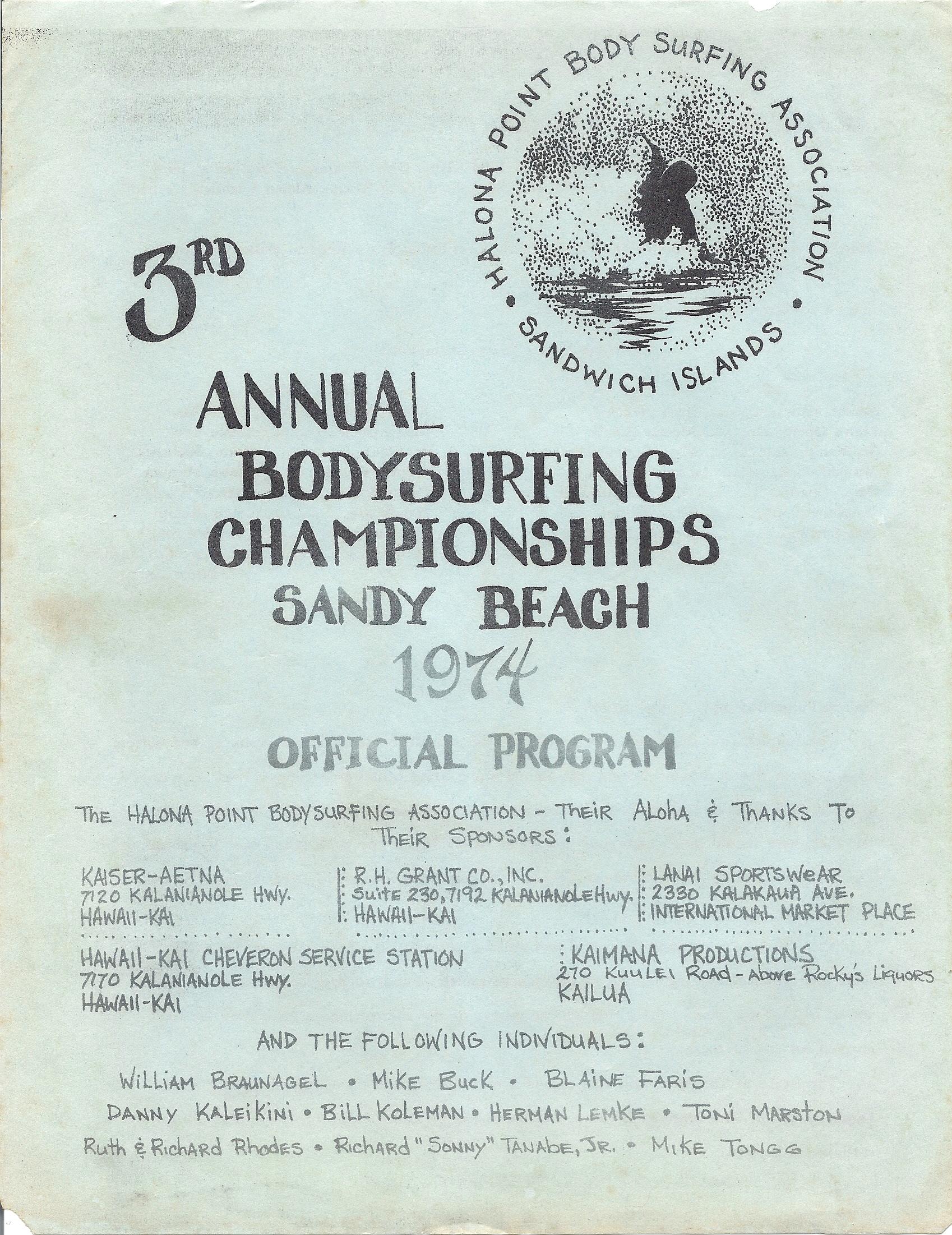 1974 Sandy Beach Bodysurfing Championships Program